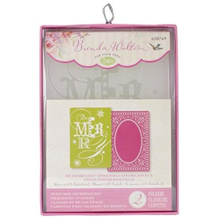 Textured Impressions A6 Embossing Folders, be Merry, 2-Pack, Turn ordinary cardstock, paper, metallic foil or vellum into an embossed, textured masterpiece By Sizzix Impressions Embossed Cardstock