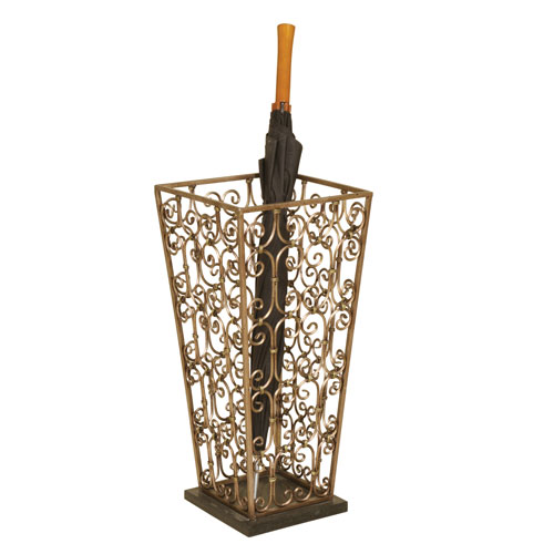 Goldtone Metal Umbrella Stand with Marble Base