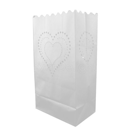 CleverDelights White Luminary Bags - 100 Count - Heart of Hearts Design - Flame Resistant Paper - Wedding, Reception, Party and Event Decor - Luminaria Candle Bag