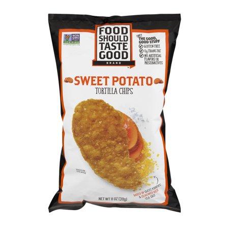 Food Should Taste Good  Tortilla Chips Gluten Free Non Gmo Sweet Potato 11 0 Oz Bag  11 0 Oz