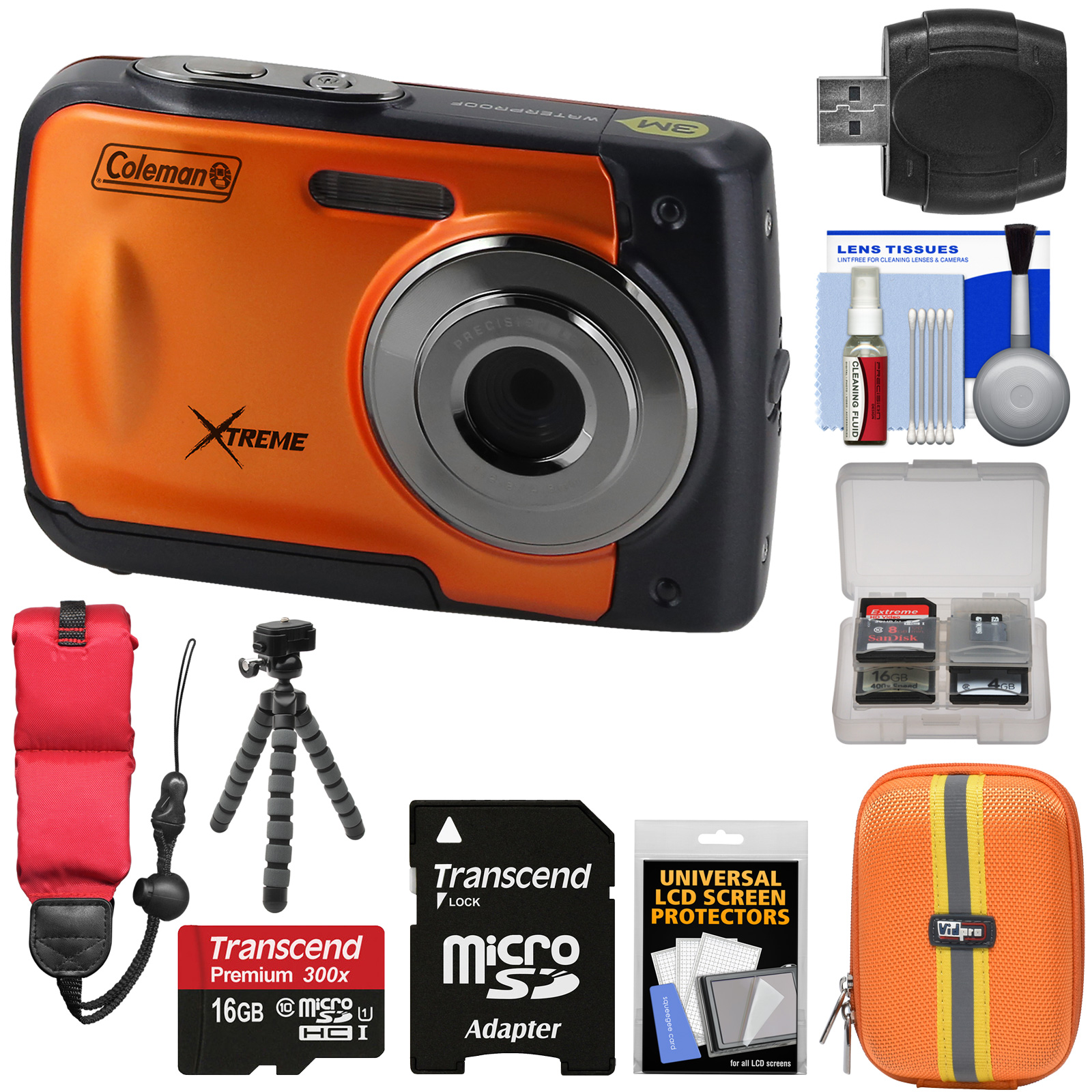 Coleman Xtreme C20WP Shock & Waterproof HD Digital Camera (Black) with 16GB Card + Case + Float Strap + Flex Tripod + Kit