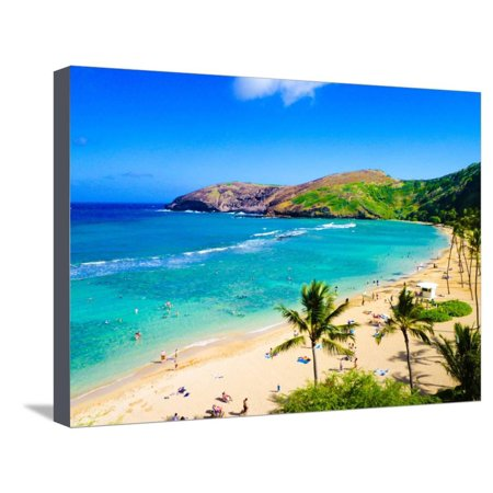 Hanauma Bay, the Best Place for Snorkeling in Oahu,Hawaii Stretched Canvas Print Wall Art By (Best Place To Snorkel In St Thomas)