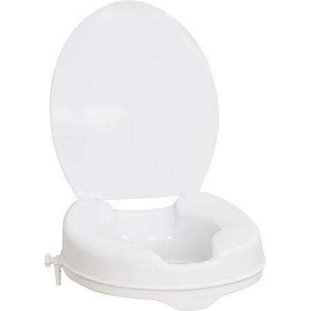 AquaSense Raised Toilet Seat with Lid, White, 2
