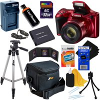 Canon Powershot SX420 IS 20 MP Wi-Fi Digital Camera with 42x Zoom (Red) + NB-11L Battery & AC/DC Charger + 9pc 32GB Deluxe Accessory Kit w/ HeroFiber Cloth