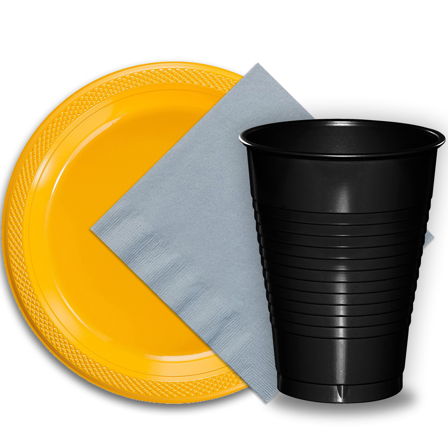 "50 Yellow Plastic Plates (9""), 50 Black Plastic Cups (12 oz.), and 50 Silver Paper Napkins, Dazzelling Colored Disposable Party Supplies Tableware Set for Fifty Guests."