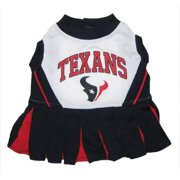 Pets First NFL Houston Texans Cheerleader Outfit, 3 Sizes Pet Dress Available. Licensed Dog Outfit