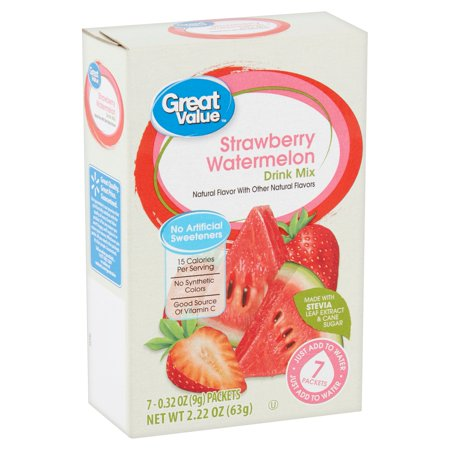 Great Value Strawberry Watermelon Drink Mix With Stevia 222 Oz 7