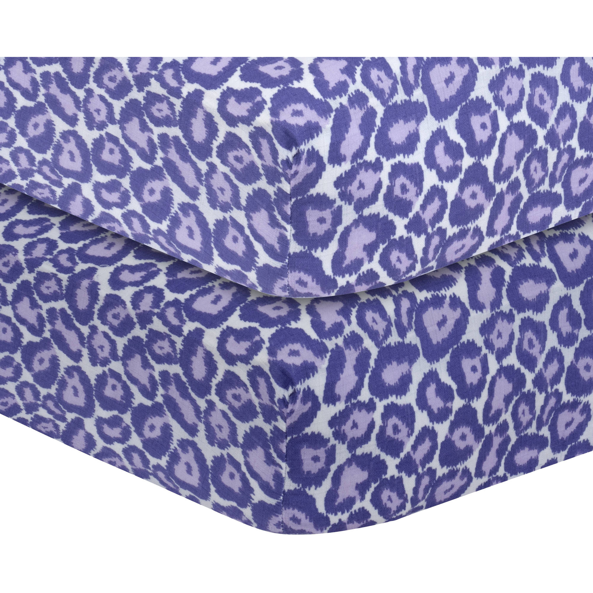 Bacati - Ikat Leopard Crib/Toddler Bed Fitted Sheets 100% Cotton Muslin 2 Pack, Purple