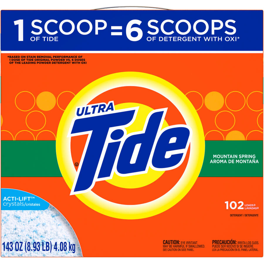 Tide HE Turbo Powder Laundry Detergent, Mountain Spring Scent, 102 Loads, 143 oz
