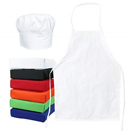Tessa's Kitchen Club Kids, Child's Chef Hat and Apron Set, Kids Size, Cooking and Baking Kit for Chefs in Training (Med 6-12 Years, White) Kitchen Cooking Apron