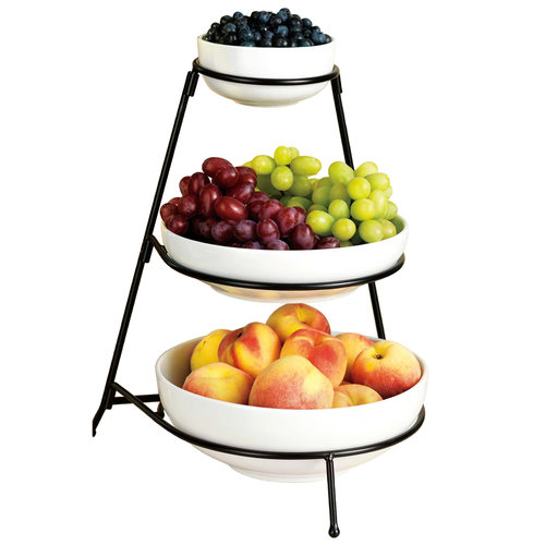 Home Essentials 67012 3 Tier White Essential Bowls With Rack
