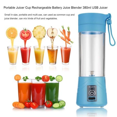 Portable Blender USB Rechargeable, Blue Personal Blender USB Charger Fruit Mixing Machine for Kitchen, 380ml Mini Fruit Juice Extractor Electric Rechargeable Mixer Cup with USB Charger Cable