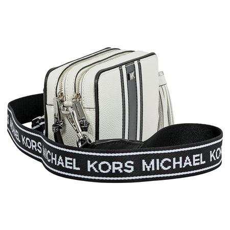 78c0e3b50b37 Michael Kors - Michael Kors Small Tri-Color Logo Leather Camera Bag- Optic  White Black - Walmart.com