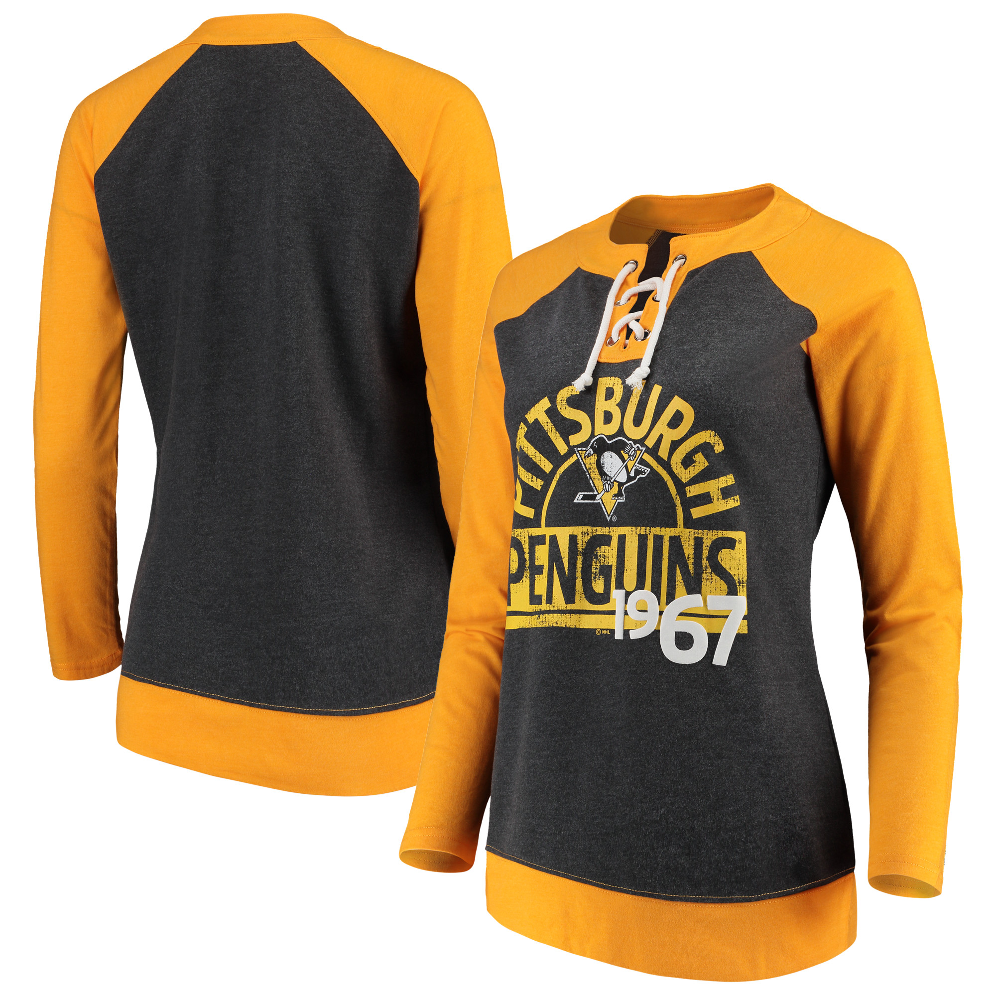 Women's Heathered Black Pittsburgh Penguins Lace-Up Long Sleeve T-Shirt by Knights Apparel INC