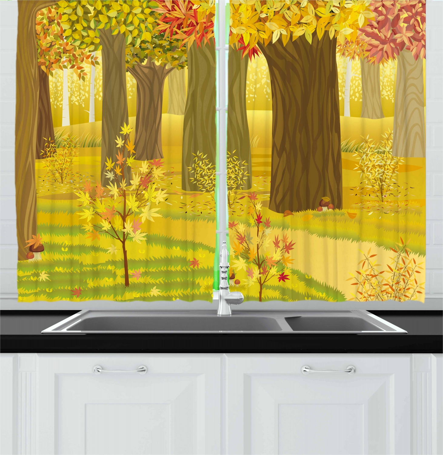Fall Curtains 2 Panels Set Dreamy Fantasy Enchanted Forest Illustration Deciduous Trees Bushes In The Countryside Window Drapes For Living Room Bedroom 55w X 39l Inches Multicolor By Ambesonne Walmart Com