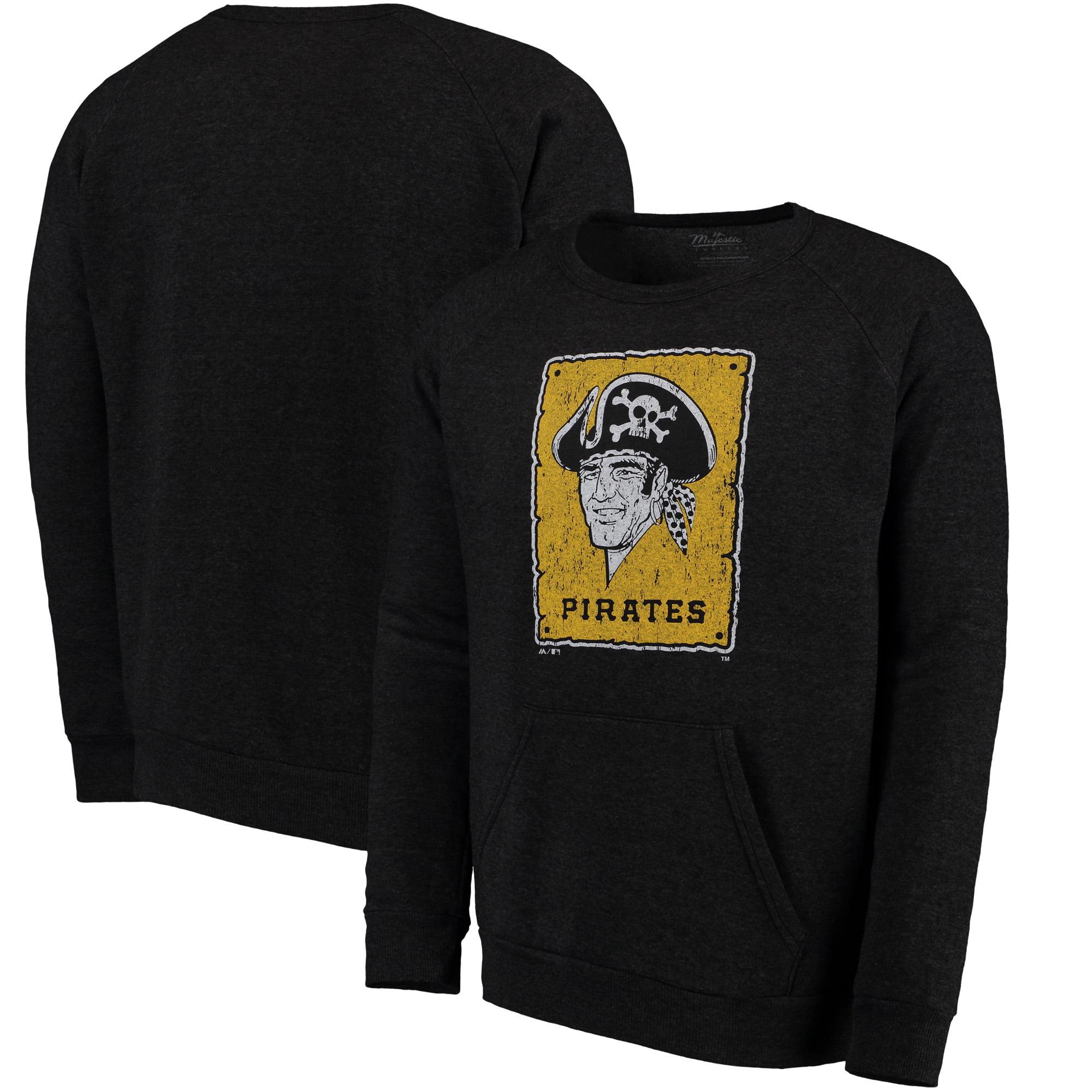 Pittsburgh Pirates Majestic Threads Cooperstown Collection Tri-Blend Pocket Fleece Sweatshirt - Black