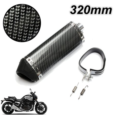 38mm Carbon Fiber Motorcycle Exhaust Muffler Tail mufflerpipe Pipe Tip w/ Removable Silencer Universal New