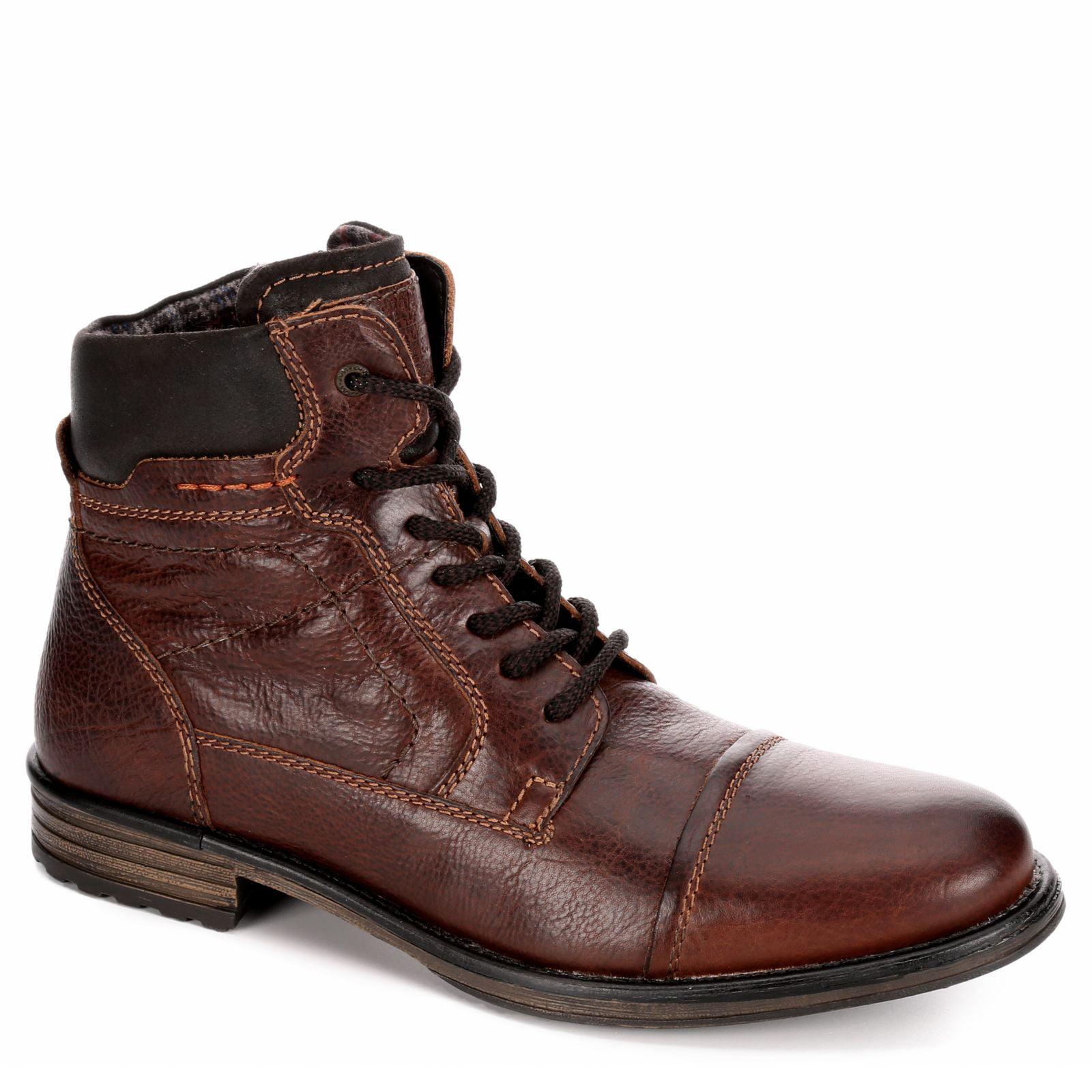 AM Shoes Mens Leather Plain Toe Lace Up Boot Shoes