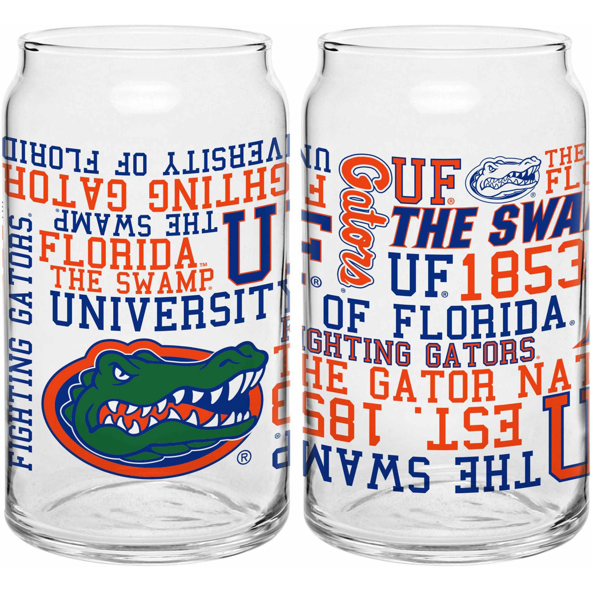 Boelter Brands NCAA Set of Two 16 Ounce Spirit Glass Can Set, University of Florida Gators