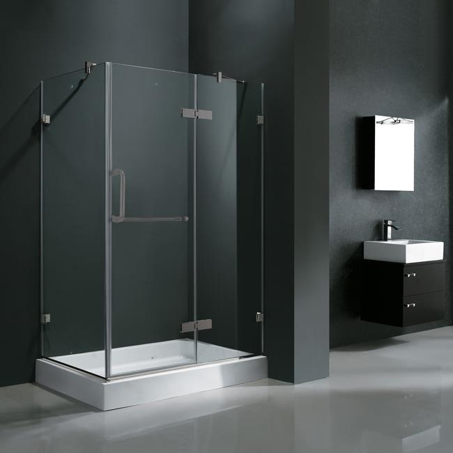 """Vigo VG6011BNCL48WR 32- x 48- Frameless 3/8"""" Clear/Brushed Nickel Shower Enclosure with Right Base"""