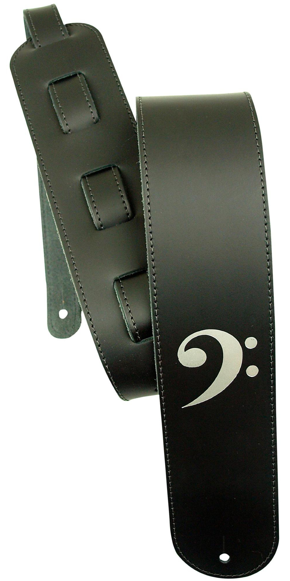 "LM Products 3"" Leather Bass Clef Embossed Bass Guitar Strap by LM Products"