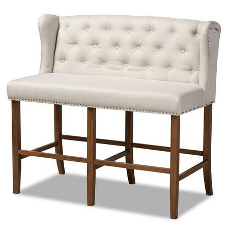 Baxton Studio Alira Beige Upholstered Walnut Finished Bar Stool Bench ()