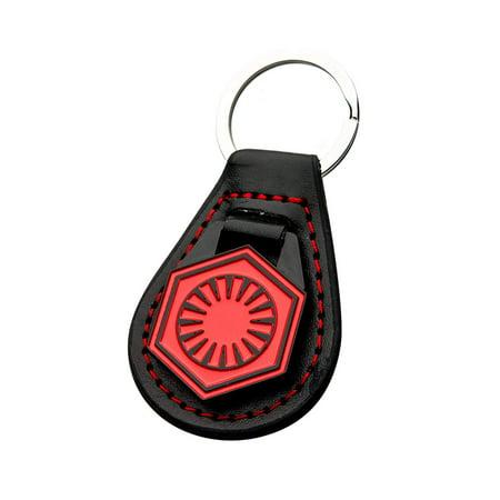 Star Wars First Order Symbol, Officially Licensed Artwork - Base Metal Silver Leather Keychain (Keychain Bulk Order)