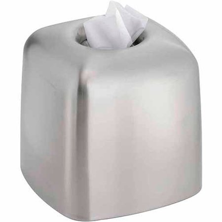 InterDesign Nogu Bath, Facial Tissue Box Cover/Holder for Bathroom Vanity Countertops, Brushed Stainless Steel