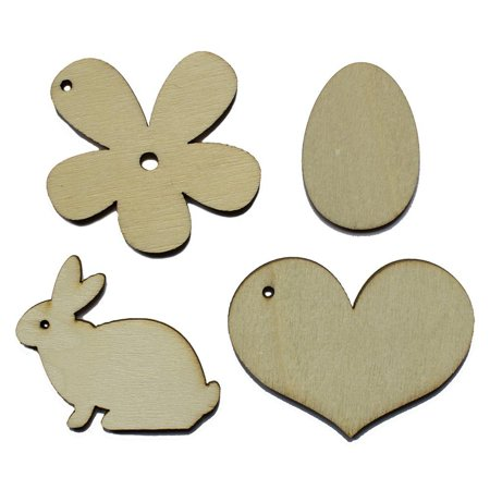 Unfinished Wooden Bunny, Flower, Easter Egg, Heart Cut Outs