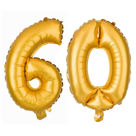 60 Large Number Balloons 60th Birthday or Anniversary Party Decorations Supplies (40 Inch, Gold) - Birthday Numbers