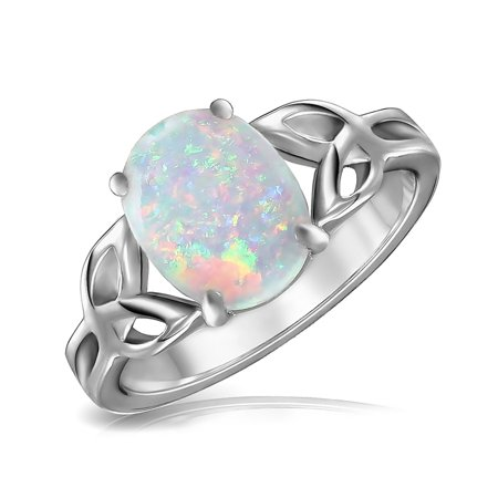 da80b4976b876 BFF Triquetra Celtic Love Knot Oval White Created Opal Ring For Teen For  Women 925 Sterling Silver