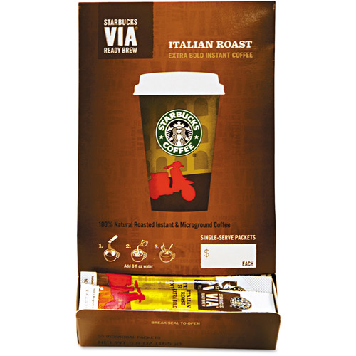 Starbucks VIA Italian Roast Extra Bold Instant Coffee Single-Serve Packets, 50 count, 5.8 oz