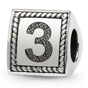 925 Sterling Silver Charm For Bracelet Number 3 Triangle Block Bead Alphabet Numeral