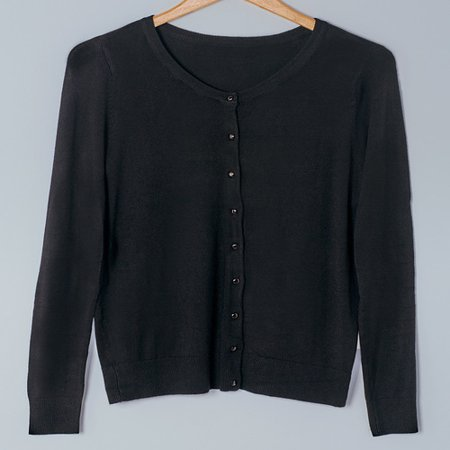 Fine Gauge Knit Cardigan Sweaters-Black XL