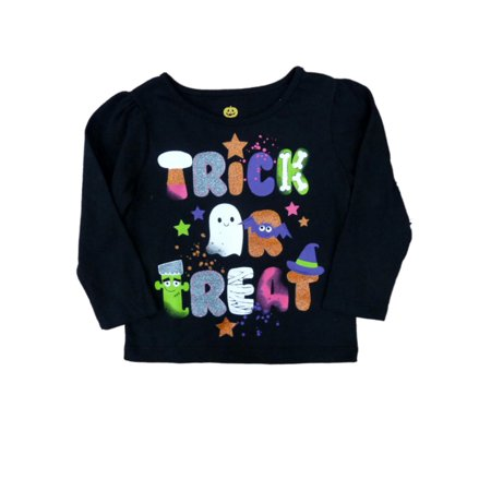 Happy Halloween Infant Toddler Girls Trick Treat T-shirt Glittery Tee Shirt - Happy Halloween Day Trick Or Treat