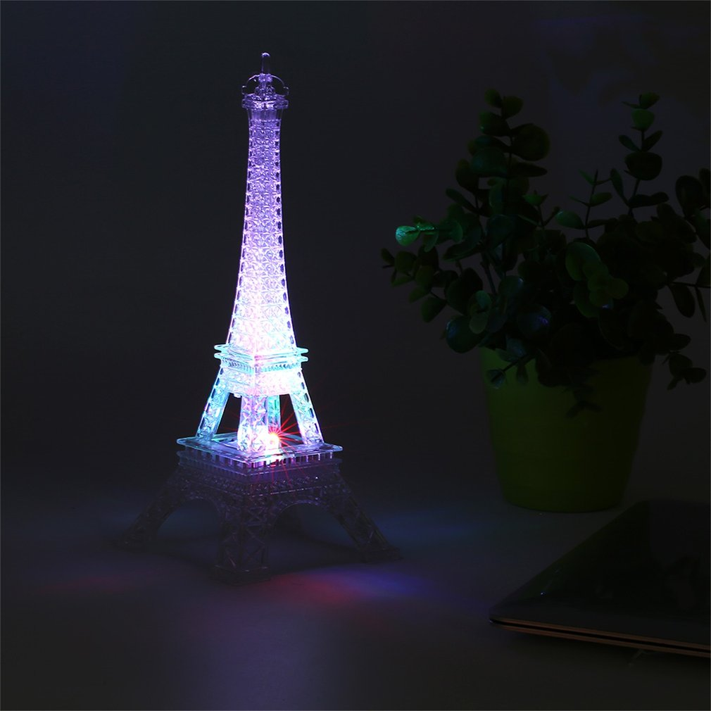 Bright Eiffel Tower Desk Table Lamp 7 Color Changing Mood Light Table LED  Lamp