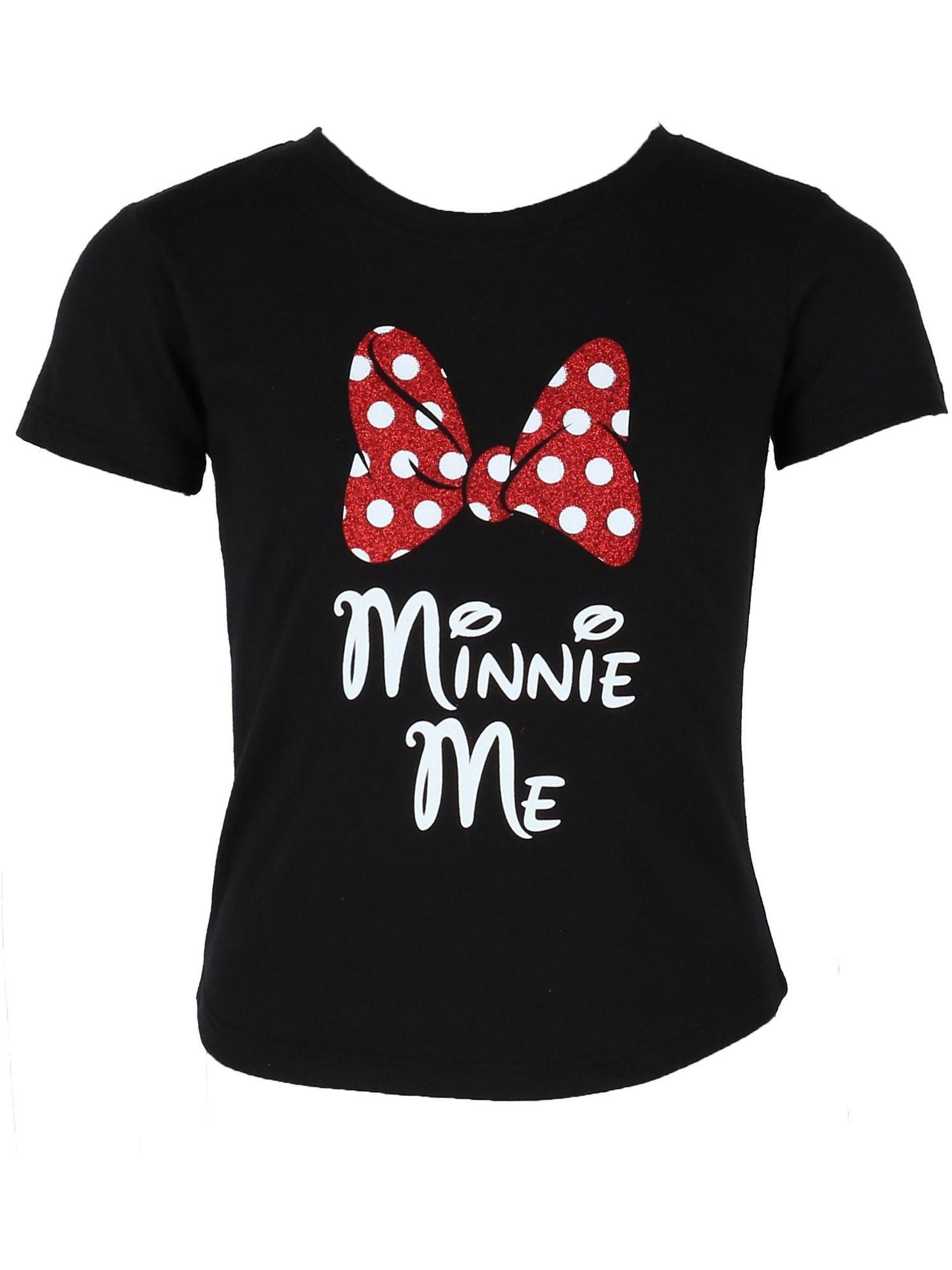 Girls Minnie Mouse Glitter Bow Tee Shirt,  Black
