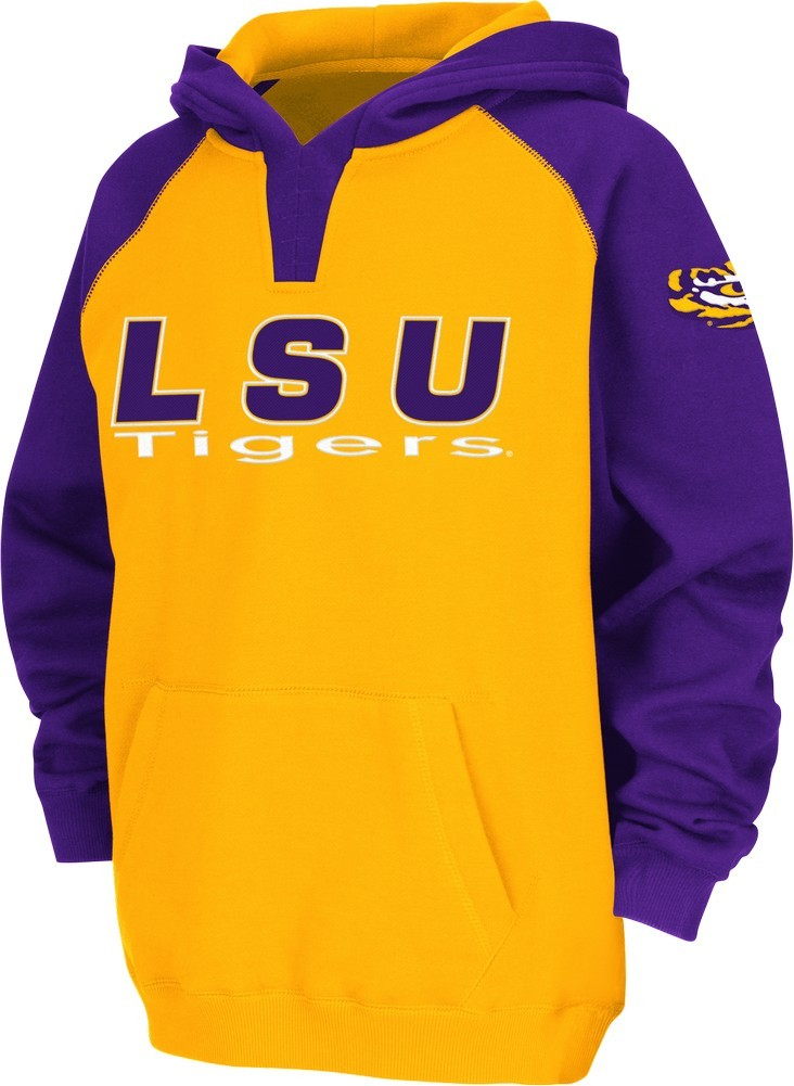 Youth LSU Tigers Louisiana State Hoodie Raglan Fleece Jacket by Colosseum