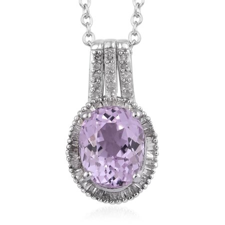 Martha Rocha Kunzite Diamond 0.25 ct Pendant Necklace 20