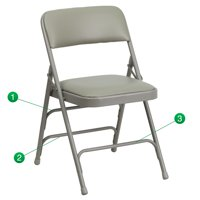 Flash Furniture 2 Pk. HERCULES Series Curved Triple Braced & Double Hinged Gray Vinyl Metal Folding Chair