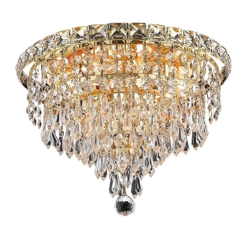"Elegant Lighting Tranquil 12"" 4 Light Elegant Crystal Flush Mount"