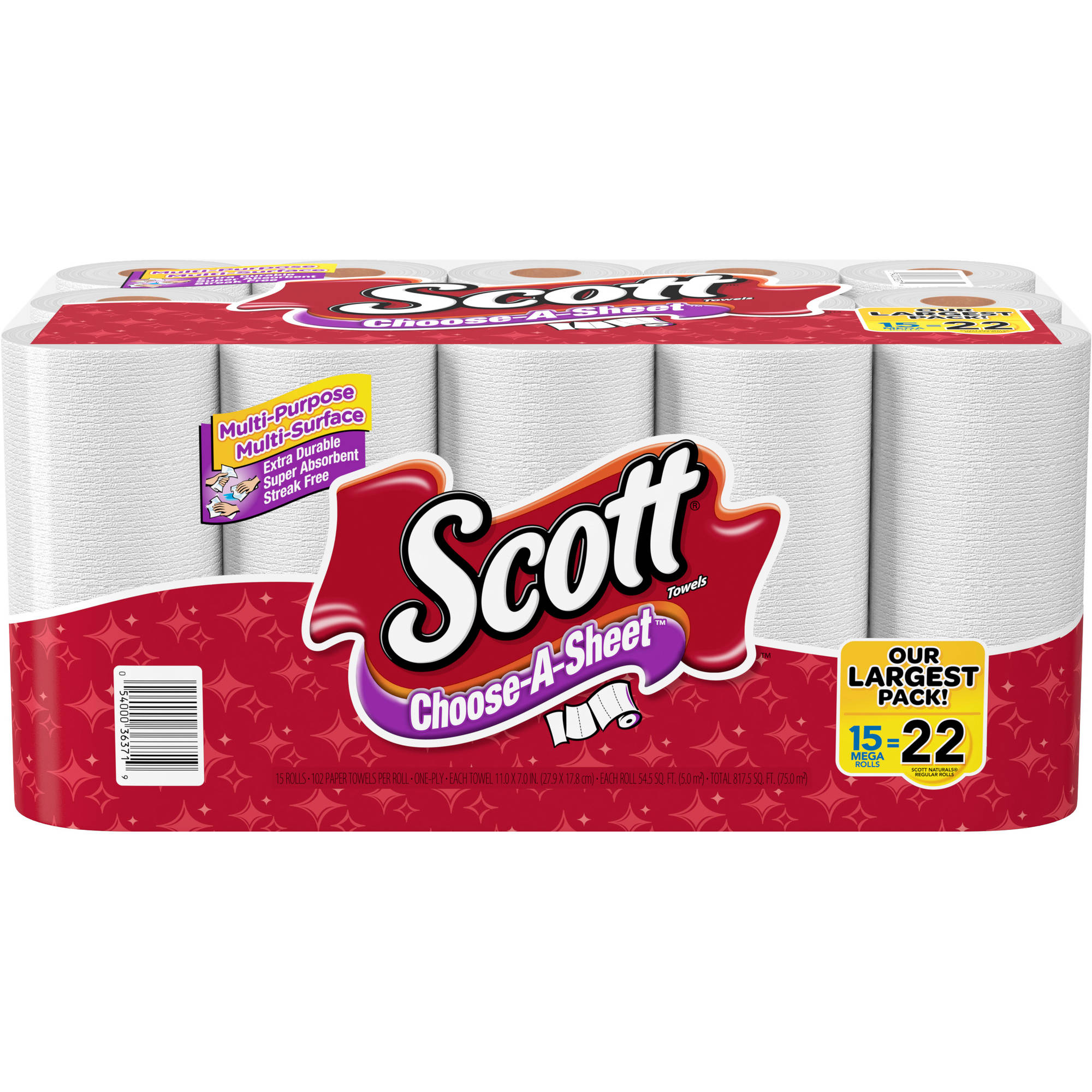 Scott Choose-a-Sheet Mega Roll Paper Towels, 15 rolls