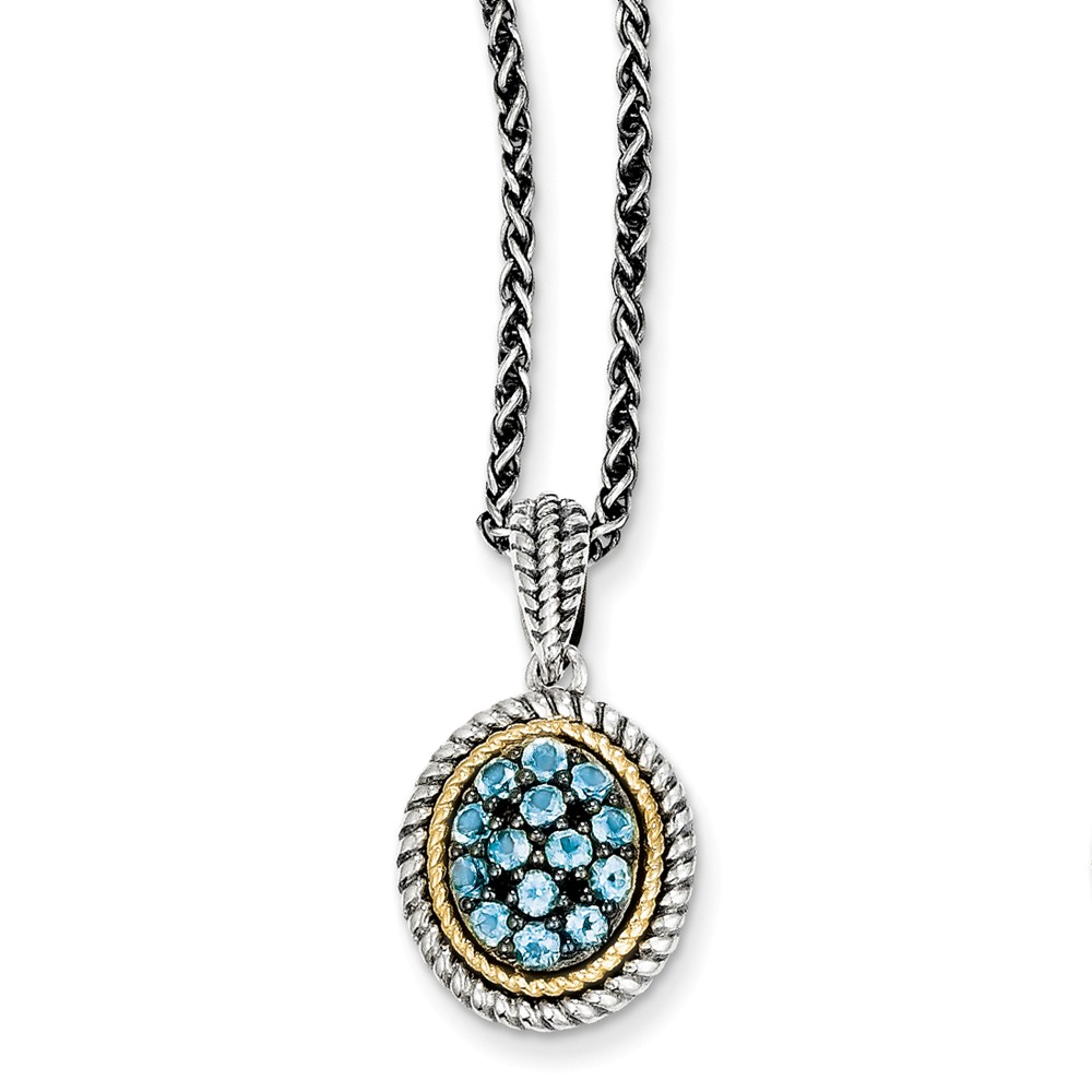 Sterling Silver w/ 14k Yellow Gold Blue Topaz Vintage Style Necklace