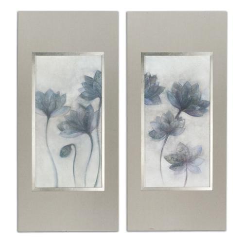 "Set of 2 Prussian Blue Flowers Framed Print Wall Art 66"""