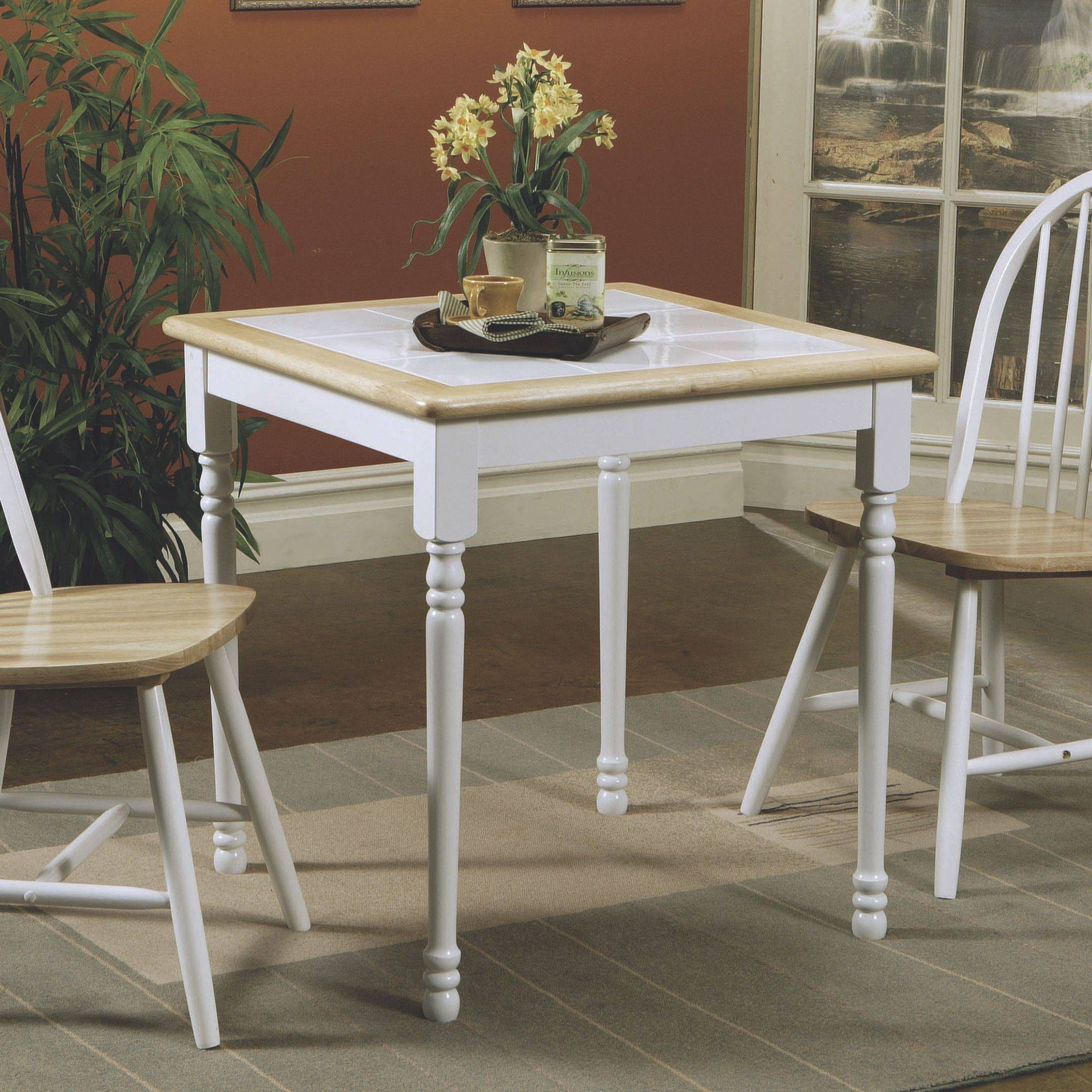 Coaster Company Dining Table, Natural Brown/White