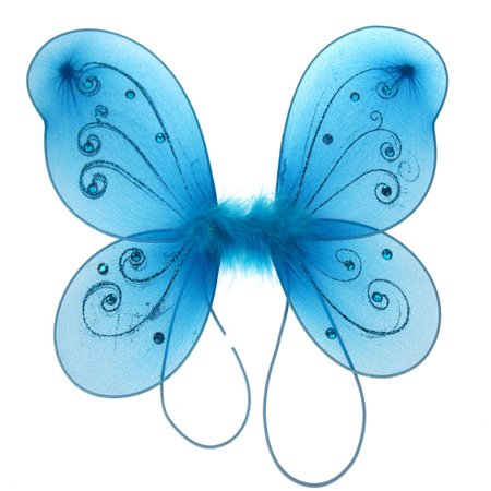 Organza Nylon Butterfly Wings with Glitters, 12-Inch, Turquoise - Girls Butterfly Wings