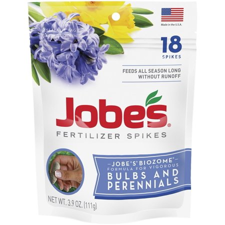 Jobe's Fertilizer Spikes for Bulbs and Perennials 9-12-6 Time Release Fertilizer for Tulips, Daffodils and all Other Bulb Perennials, 18 Spikes Per Package,.., By Jobes ()