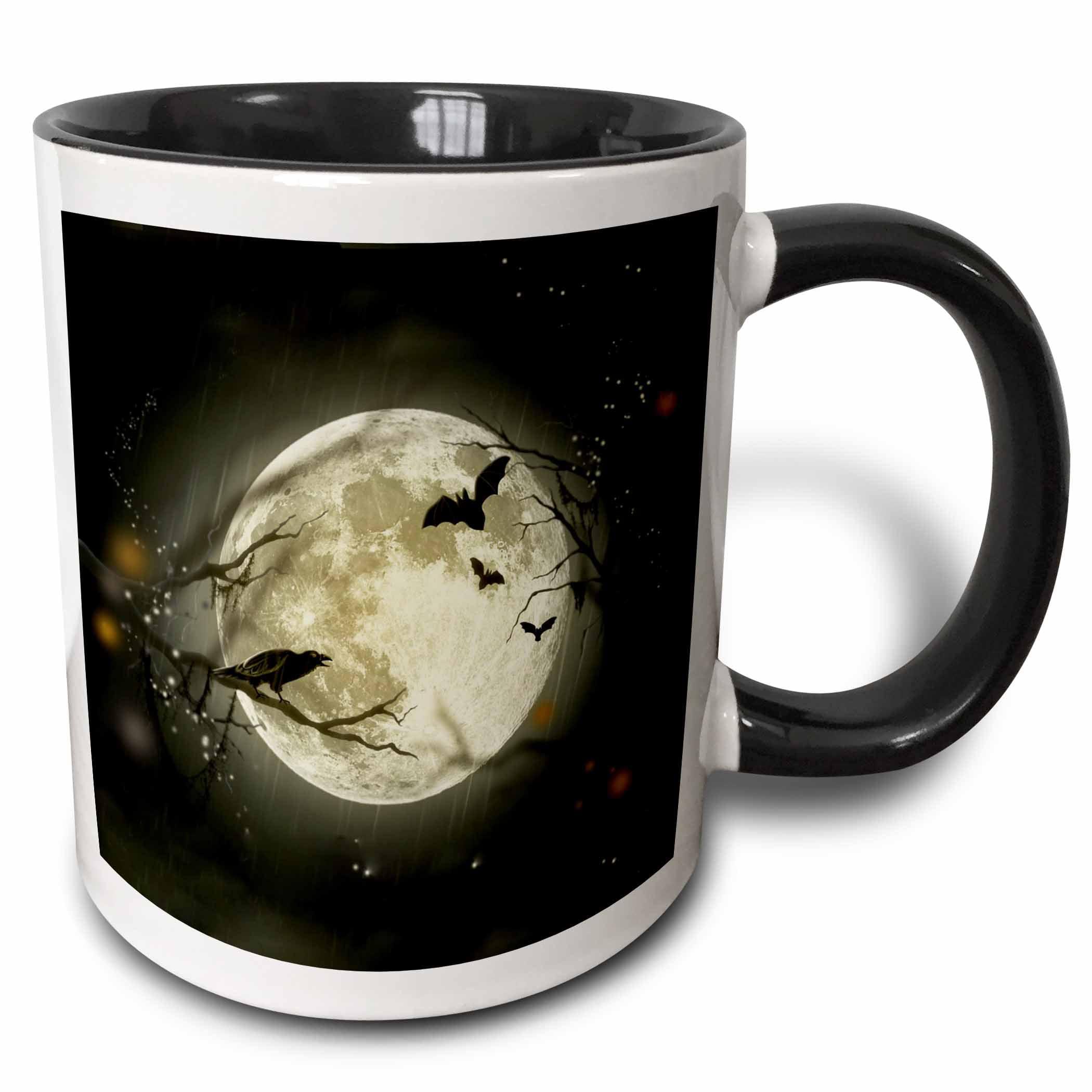 3dRose Full Moon with a Crow and Bats, Two Tone Black Mug, 11oz