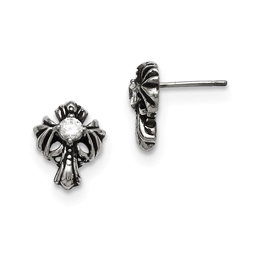 Stainless Steel Cross w/ CZ Antique Post Earrings (8MM)