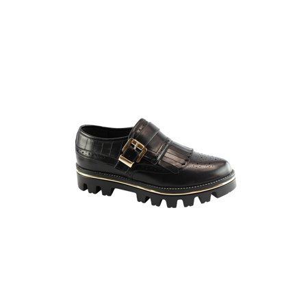 - Liyu Adult Black Buckle Strap Grippy Outsole Oxford Shoes